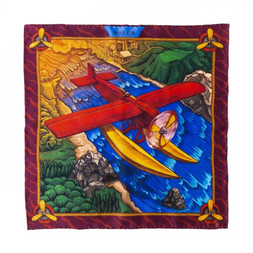 Czerwono-niebieska poszetka z samolotem