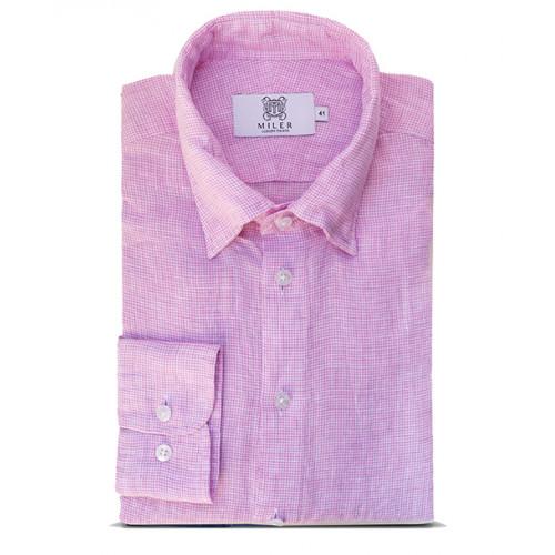 Męska koszula lniana w różową pepitę