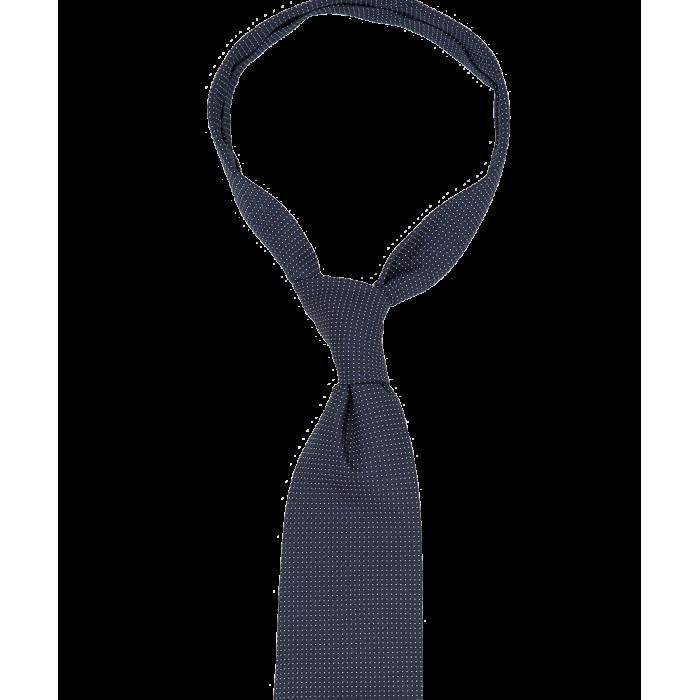 Granatowy krawat w małe groszki