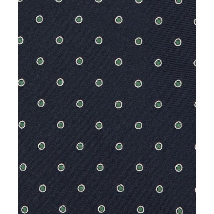 Granatowy krawat w zielone groszki