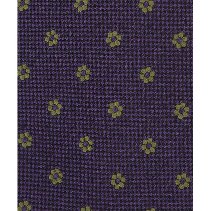 Fioletowy krawat w oliwkowe kwiaty