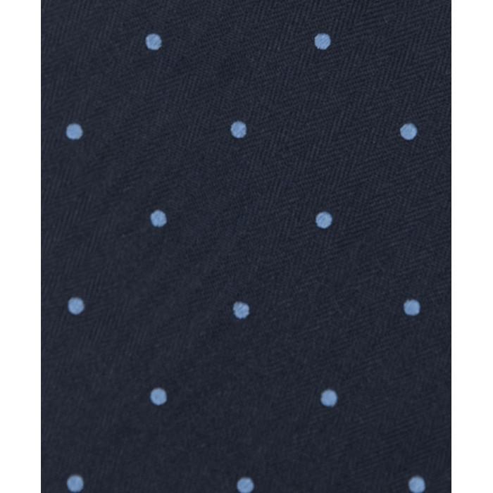 Granatowy krawat w błękitne grochy
