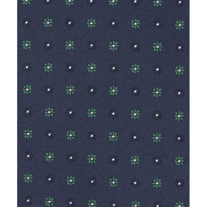 Granatowy krawat w zielone kwiatki