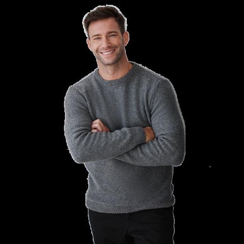Szary sweter męski z okrągłym dekoltem