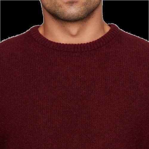 Bordowy sweter męski z okrągłym dekoltem