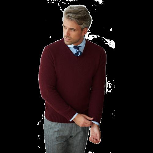 Bordowy sweter męski z dekoltem w serek