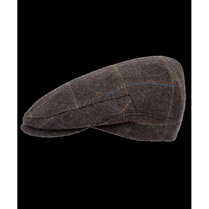 Brązowy kaszkiet w kratkę z nausznikami Mainland z wełny