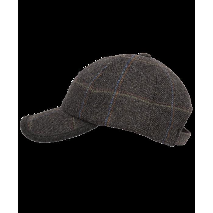 Brązowa wełniana czapka męska z daszkiem w kratkę Islay