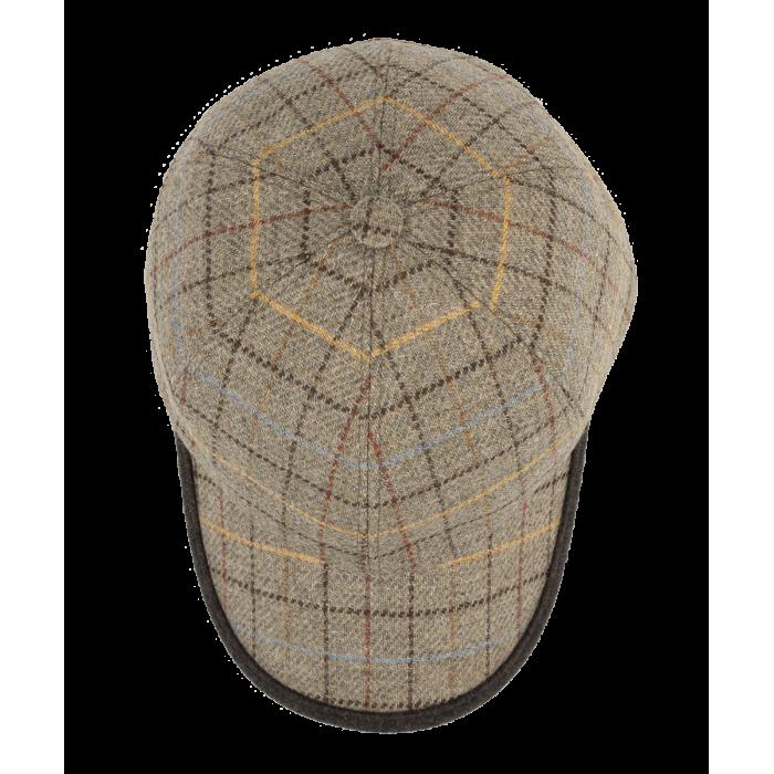 Beżowa wełniana czapka męska z daszkiem w kratkę Islay