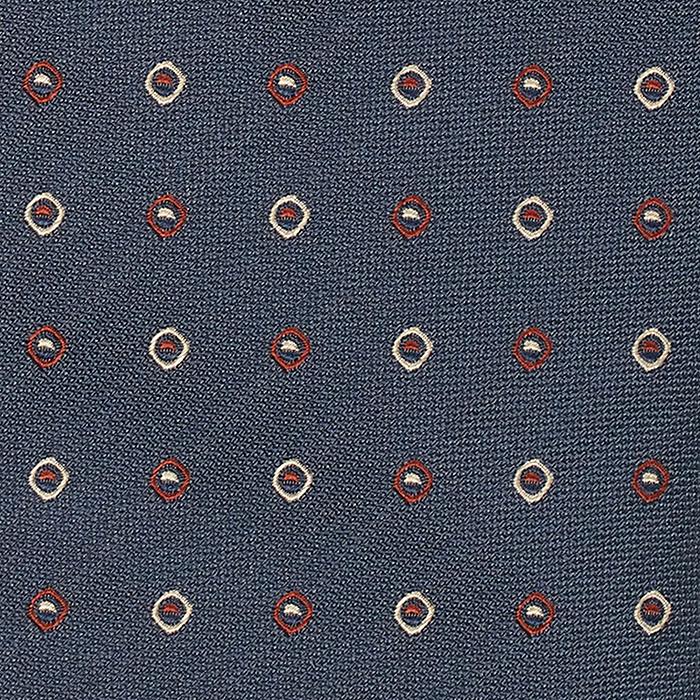 Ciemnoniebieski krawat w czerwono-białe kropki