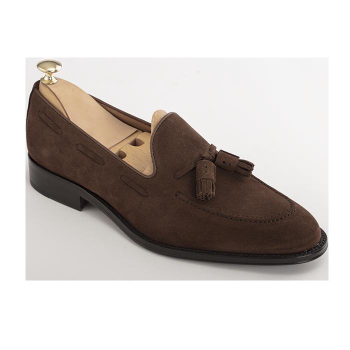 Zamszowe buty męskie MILER tassel loafers brązowe Blake