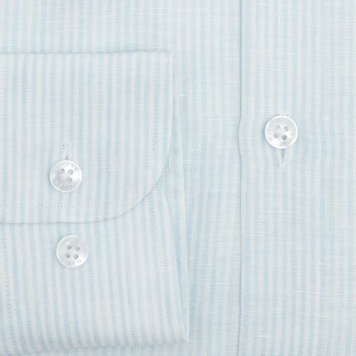 Koszula męska lniana w delikatny błękitny prążek