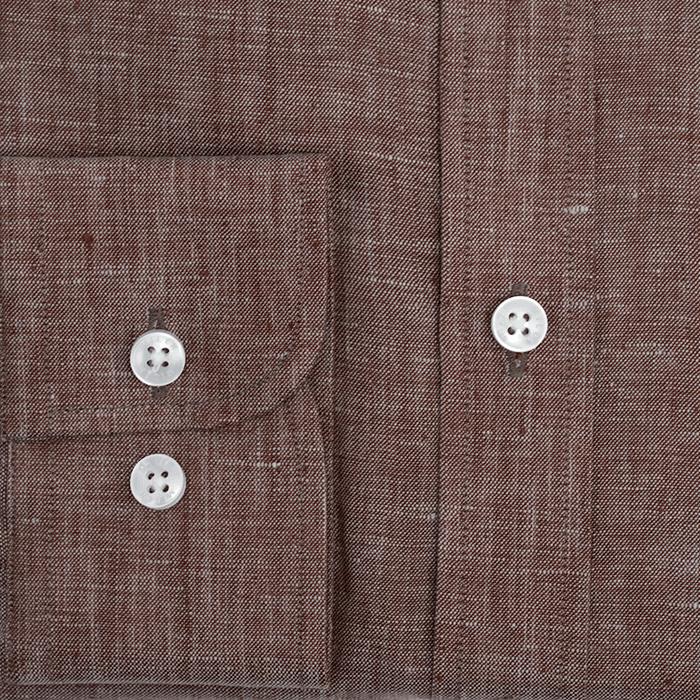Brązowa męska koszula lniana button down