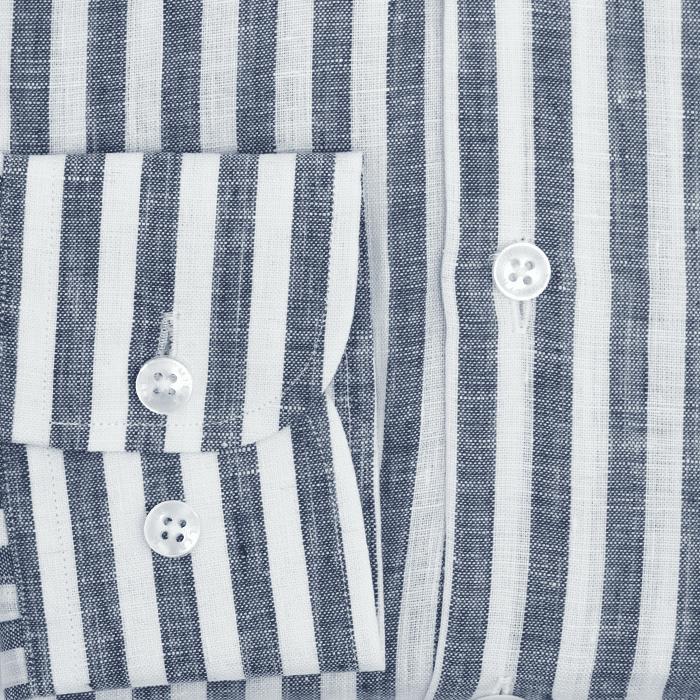 Koszula męska lniana w granatowy prążek