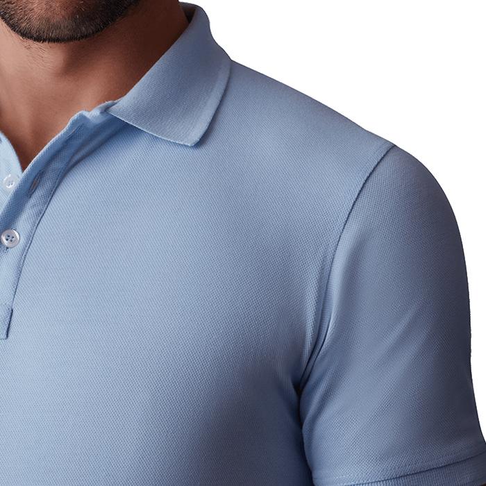 Błękitna męska koszulka polo
