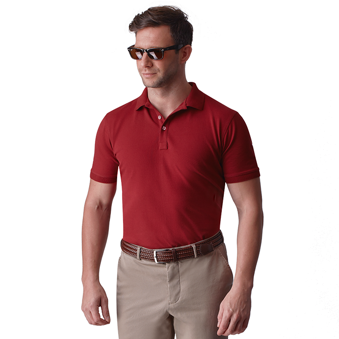 Bordowa męska koszulka polo