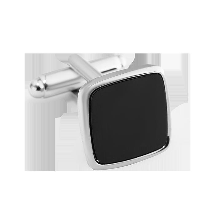 Spinki srebrno - czarne kwadratowe