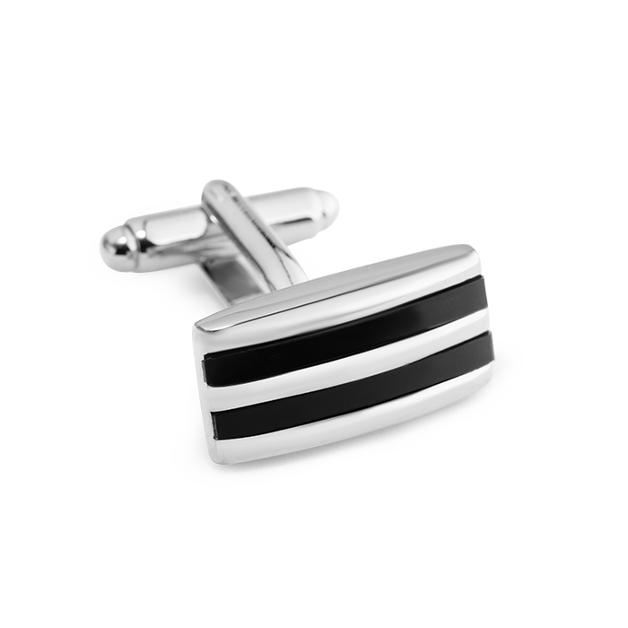 Spinki srebrno - czarne prostokątne