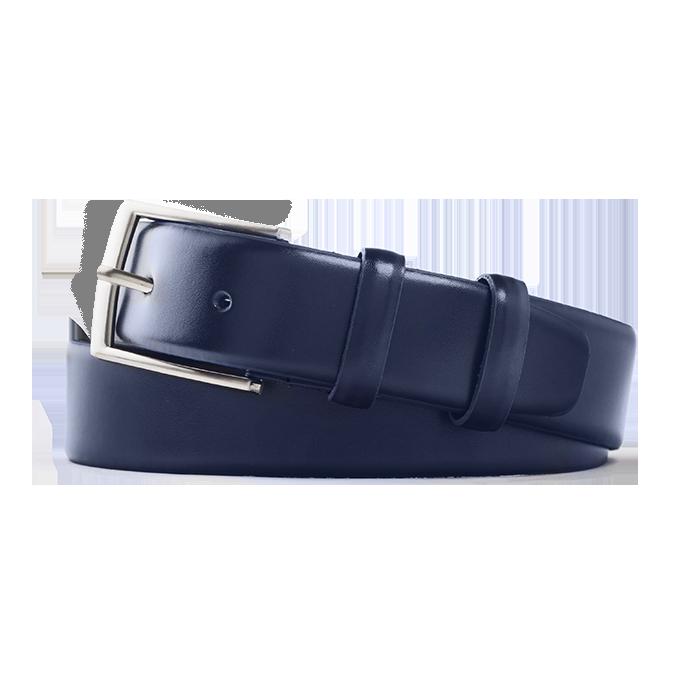 Granatowy męski skórzany pasek do spodni z kruponu