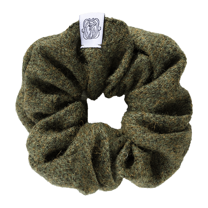 MeMadam: Scrunchie - zielona wełniana gumka do włosów z Harris Tweedu
