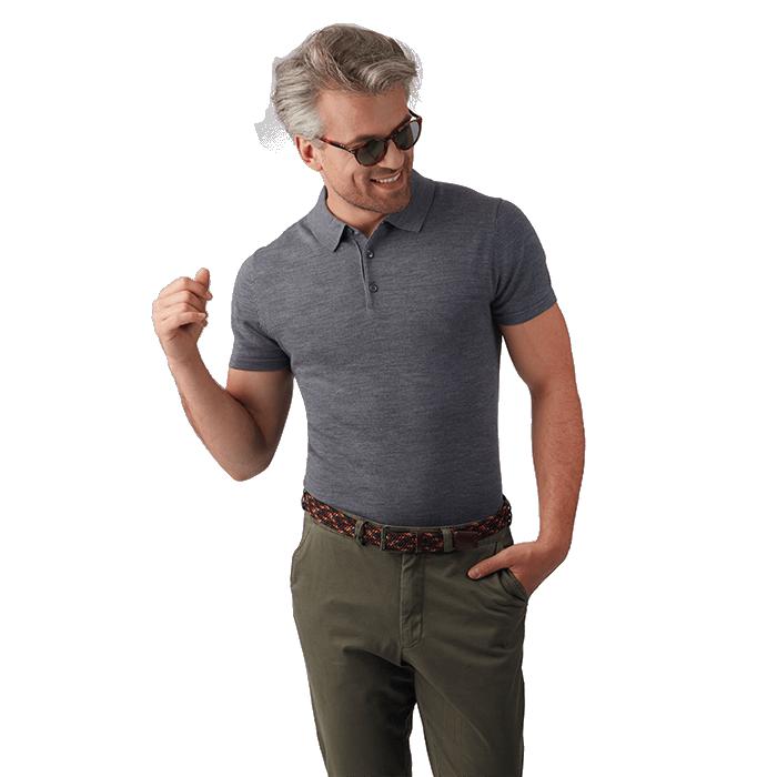 Szara męska koszulka wełniana polo