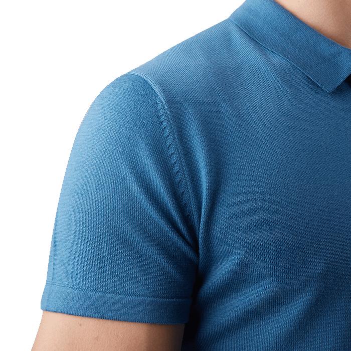 Niebieska męska koszulka wełniana polo