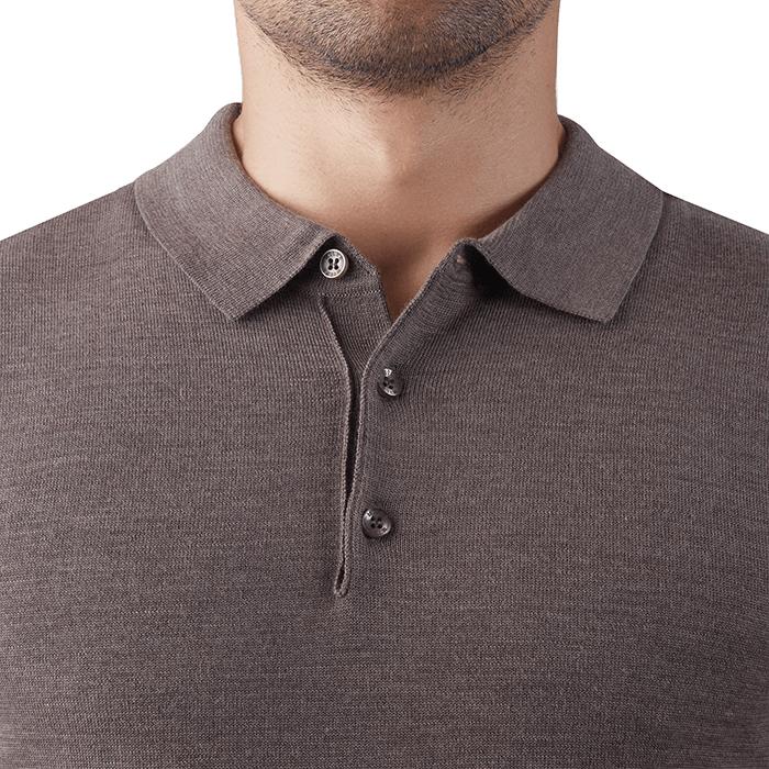 Jasnobrązowa męska koszulka wełniana polo