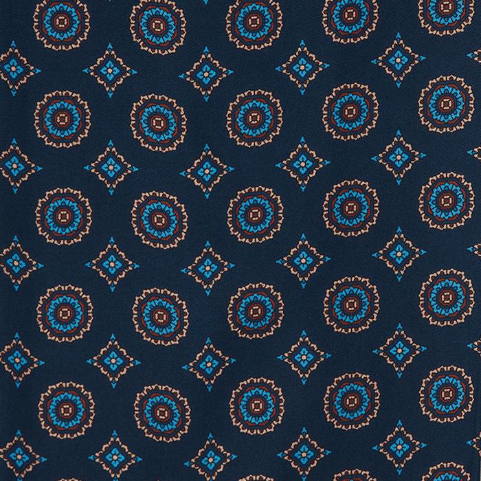 Granatowy fular jedwabny męski w ornamenty