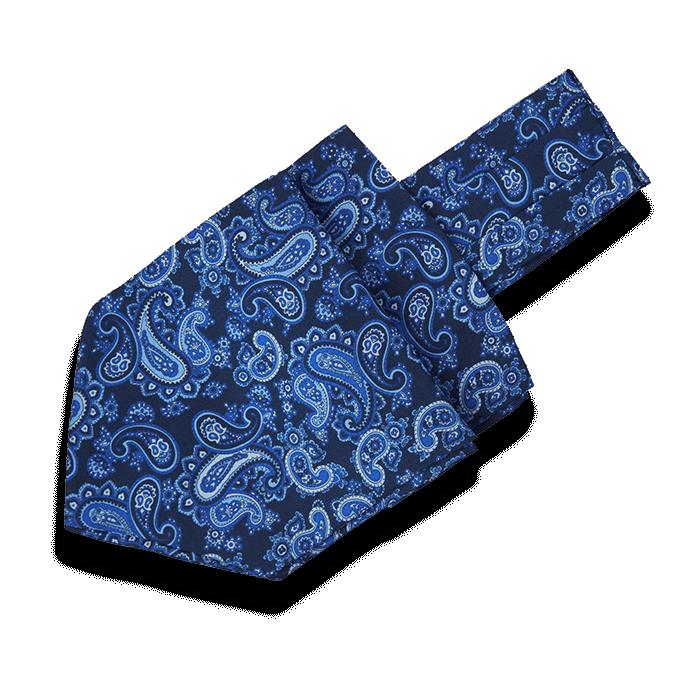 Granatowy fular jedwabny męski we wzór Paisley