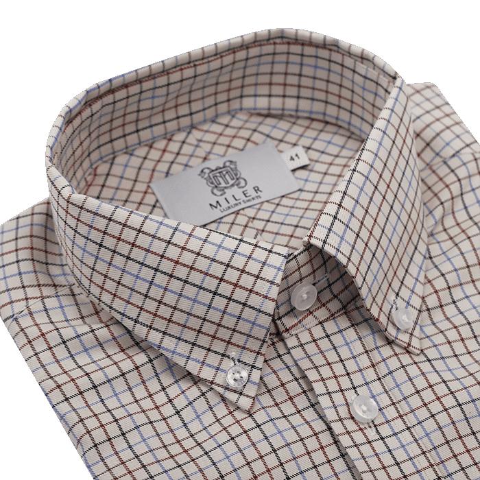 Beżowa koszula męska w kratkę