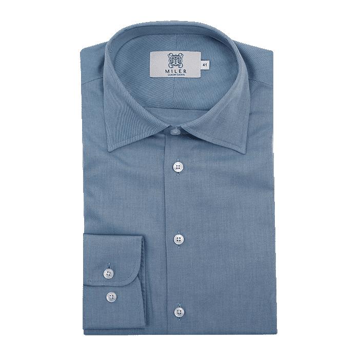 Błękitna flanelowa koszula męska o splocie twill