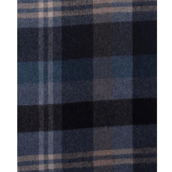 Granatowo-błękitny szal męski w kratkę