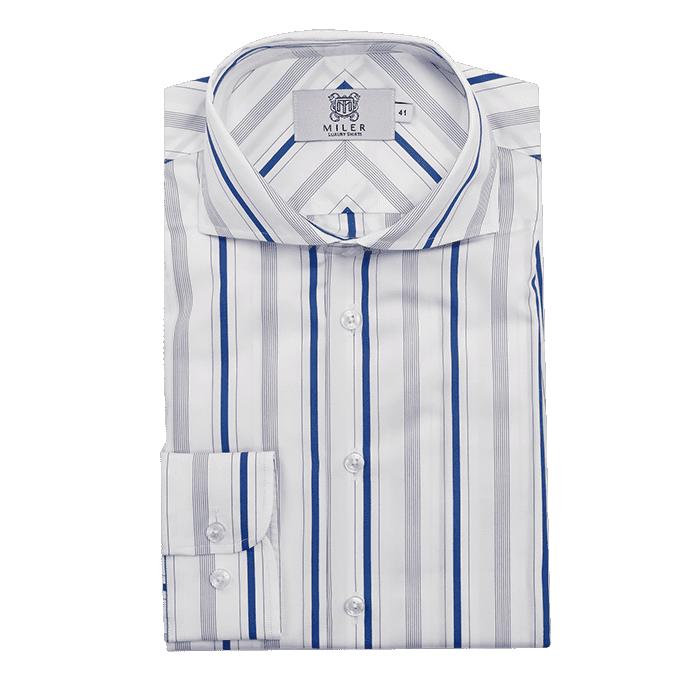 Biała koszula męska w niebieskie prążki
