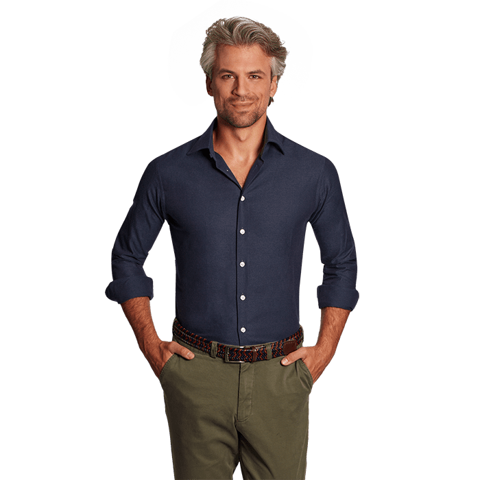Granatowa flanelowa koszula męska o splocie twill