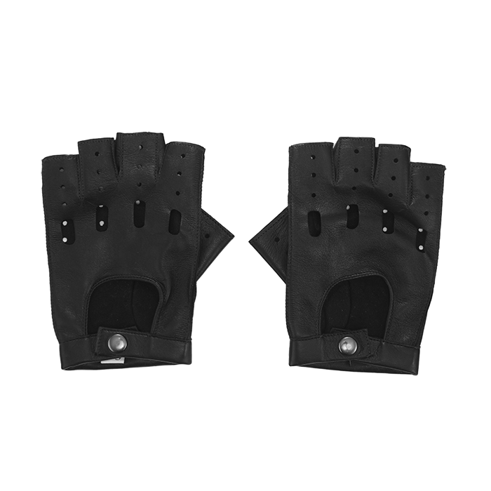Czarne skórzane rękawiczki męskie bez palców