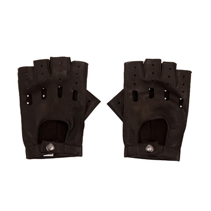 Brązowe skórzane rękawiczki męskie bez palców
