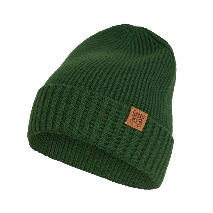 Zielona czapka męska z wełny merino