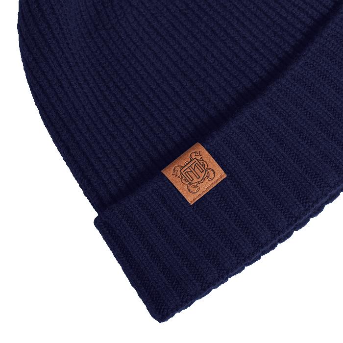 Granatowa czapka męska z wełny merino