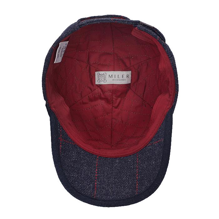 Granatowa wełniana czapka męska z daszkiem w kratkę Islay