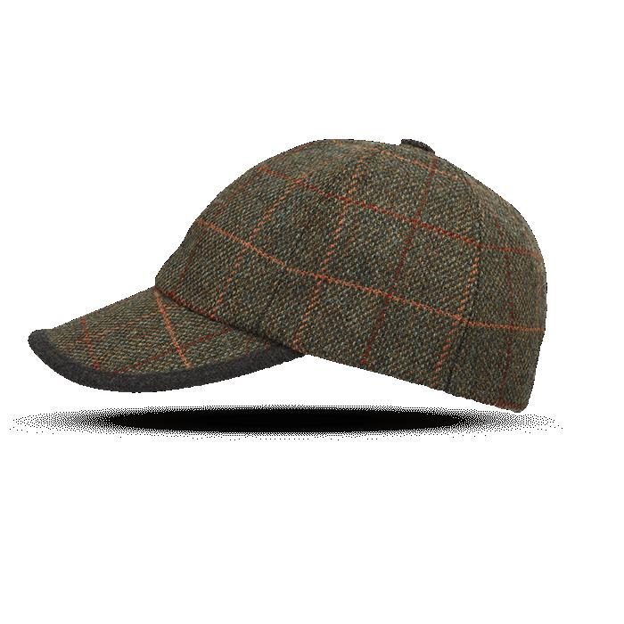 Zielona wełniana czapka męska z daszkiem w kratkę Islay