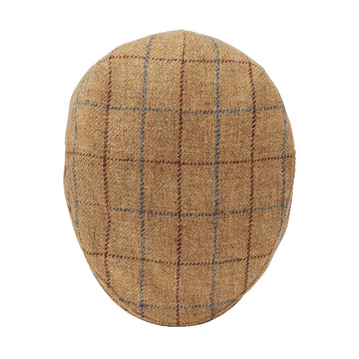 Miodowy wełniany kaszkiet męski w kratkę z nausznikami Islay