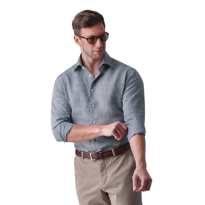 Półformalna męska koszula w granatową pepitkę