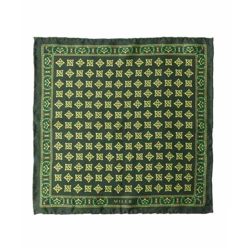 Jedwabna poszetka w średni wzór - zielona