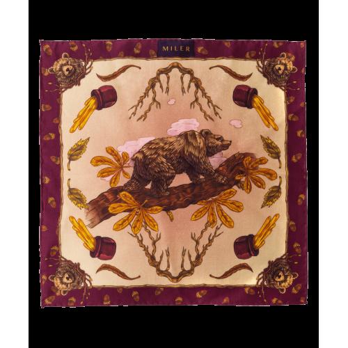 Bordowo-złota poszetka z niedźwiedziem