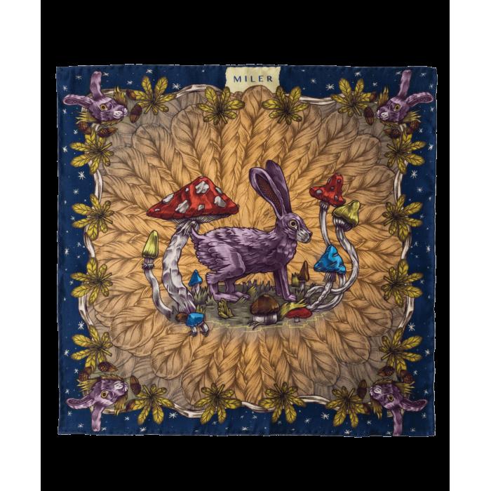 Granatowo-szara poszetka z zającem