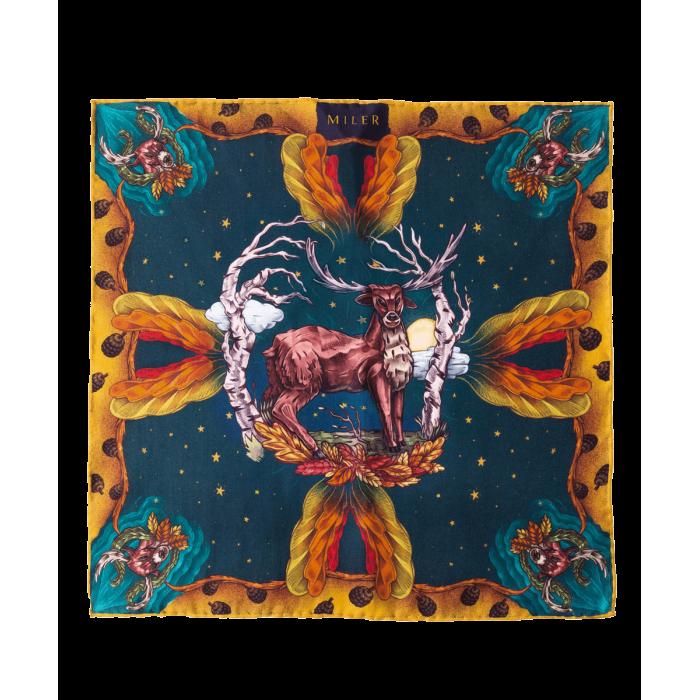Granatowa poszetka z jeleniem