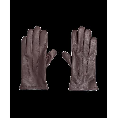 Skórzane ocieplane męskie rękawiczki - brązowe