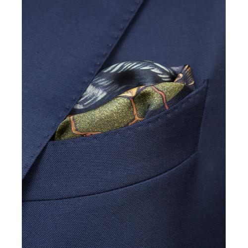Granatowo-zielona poszetka z sową