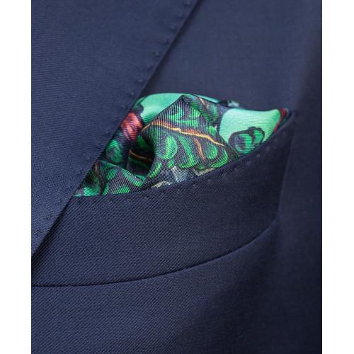 Zielono-błękitna poszetka z rysiem
