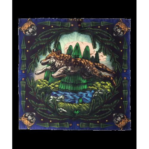 Zielono-granatowa poszetka z wilkiem